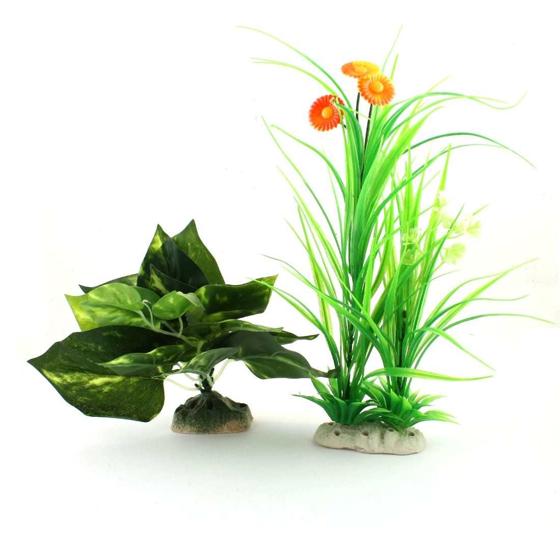 2 Pcs Aquarium Decor Ceramic Base Orange Flower Green Plastic Water Grass