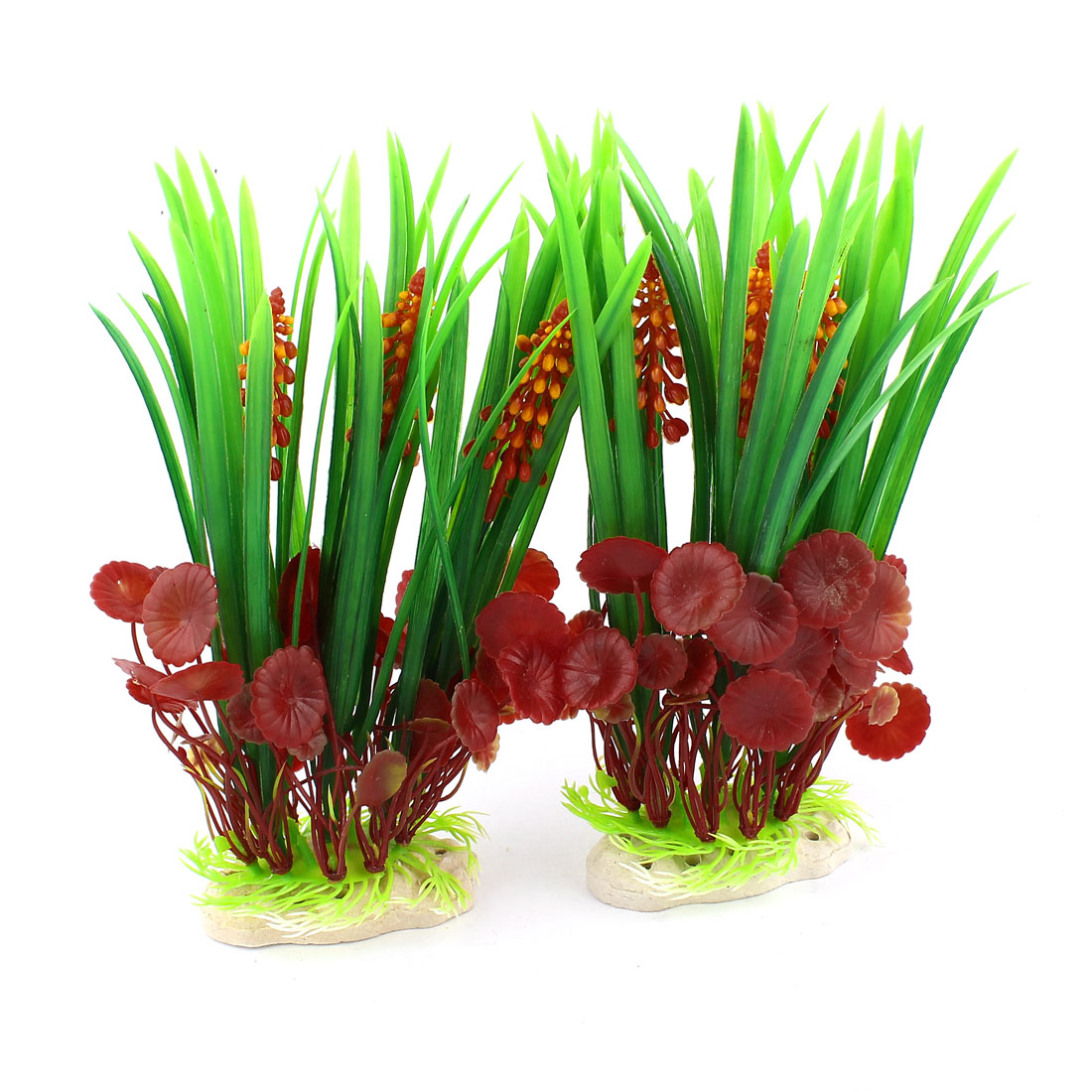 "Aquarium Fish Tank 8.3"" High Green Red Plastic Plants Ornament 2 Pcs"