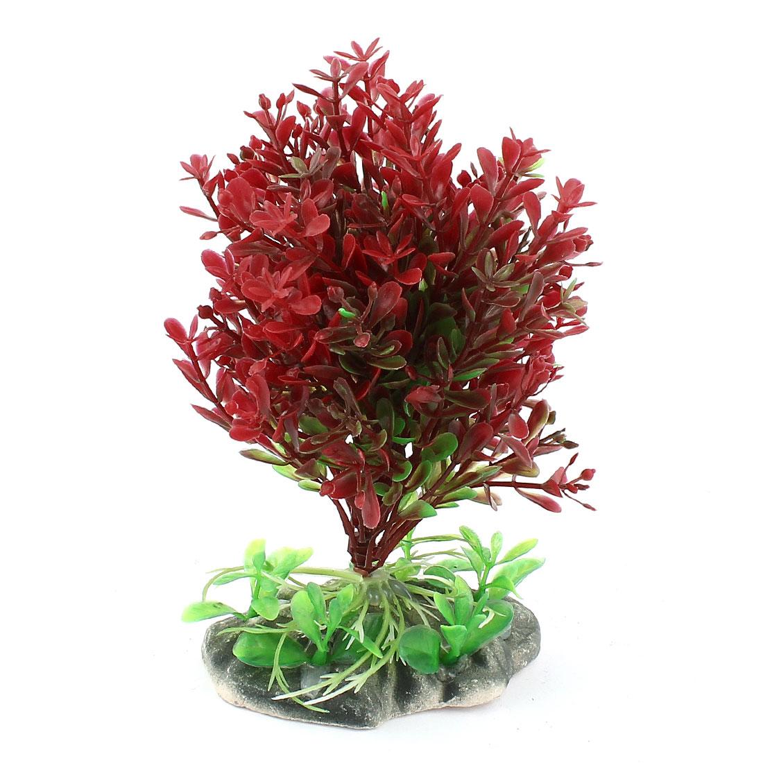 "Aquarium Landscaping Red Green Plastic 4.7"" High Underwater Plants Decor"