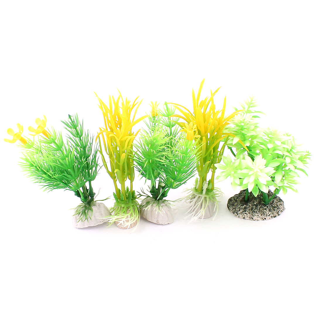 5 Pcs 9cm High Green Yellow Plastic Simulation Grass Plant Adorn for Fish Tank