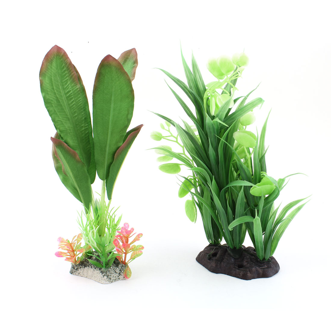2 Pcs Aquarium Tank Green Plastic Underwater Plants Water Grass Decoration