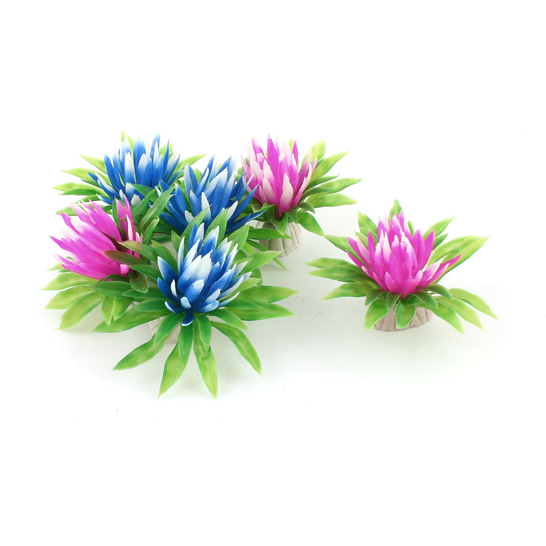 Fish Tank Blue Fushsia Green Leaves Artificial Aquatic Plant Decor 6 Pcs