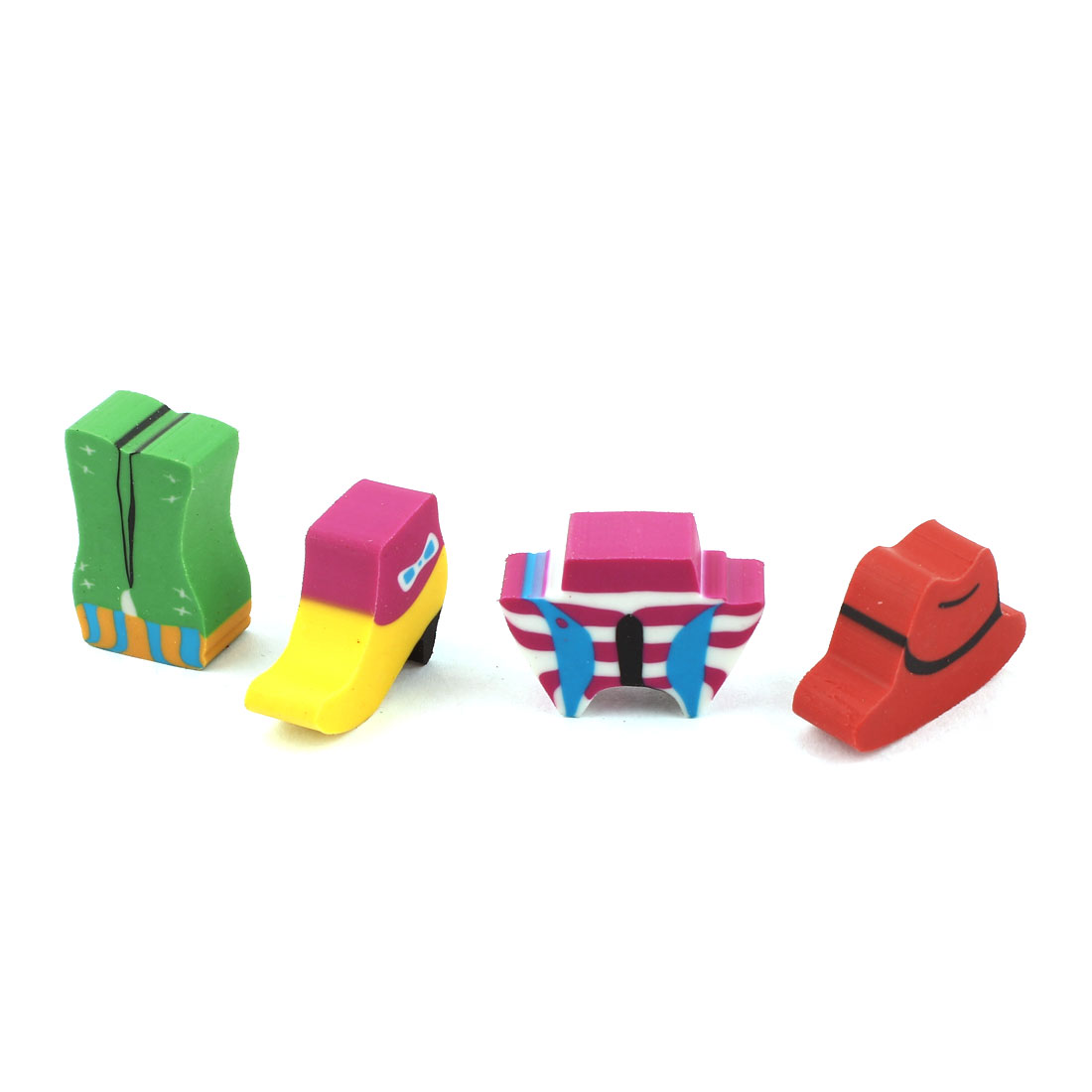 4 Pcs Green Red Yellow Cartoon Design Rubber Erasers Set for Student