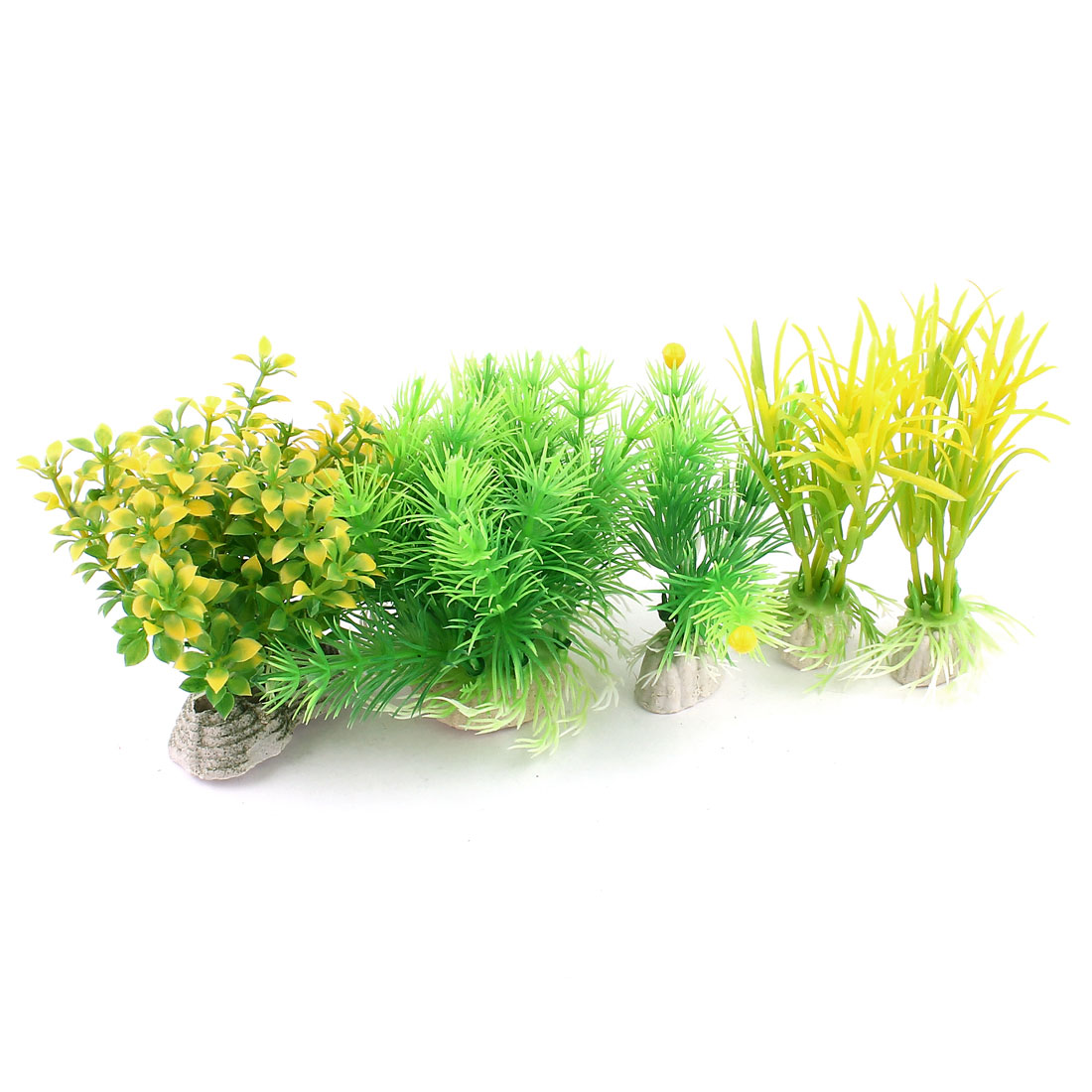 Aquarium 7cm High Green Pine Tree Yellow Artificial Water Plants Decor 5 In 1