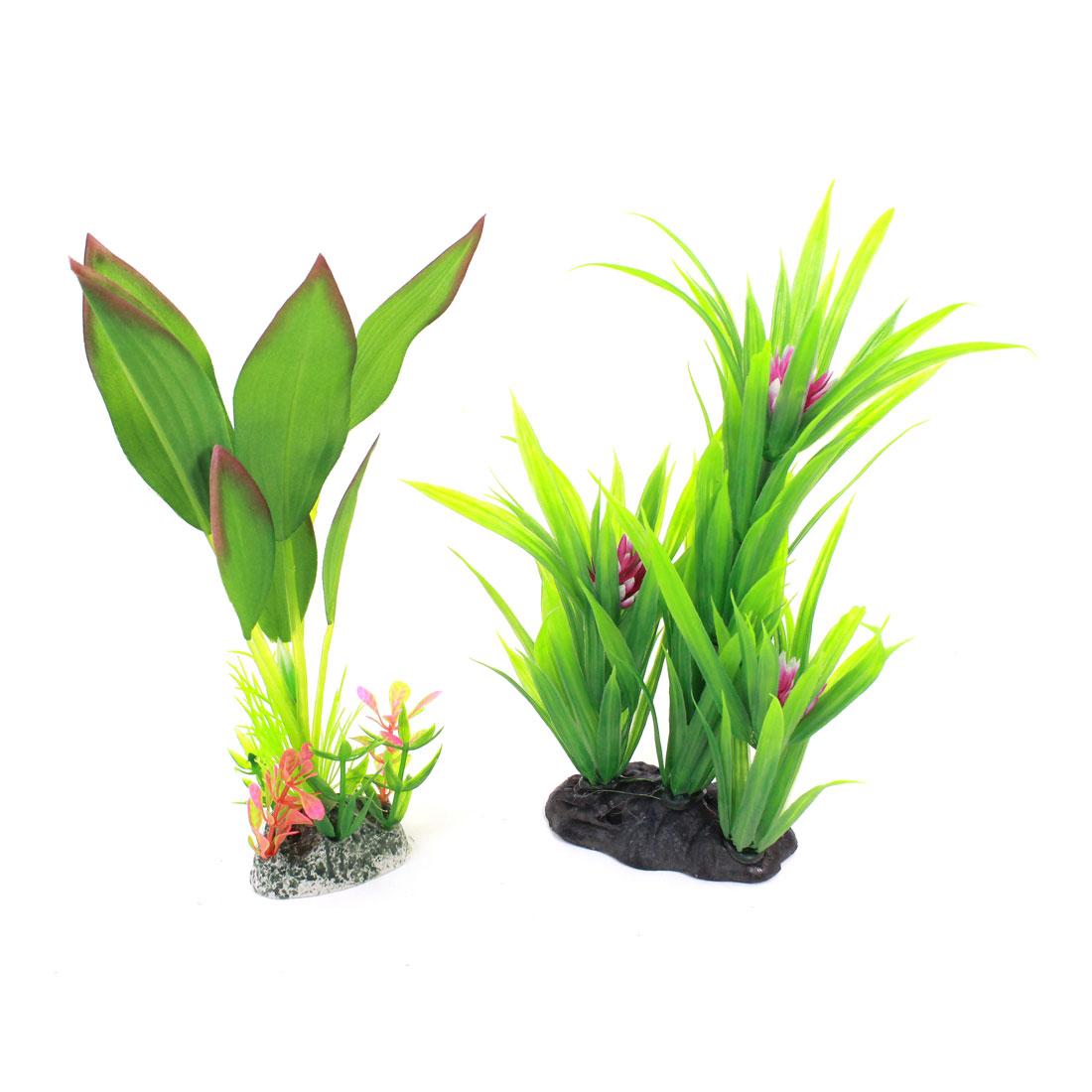 Fish Tank Simulation Purple Flower Detail Aquatic Grass Green 23cm High 2 Pcs