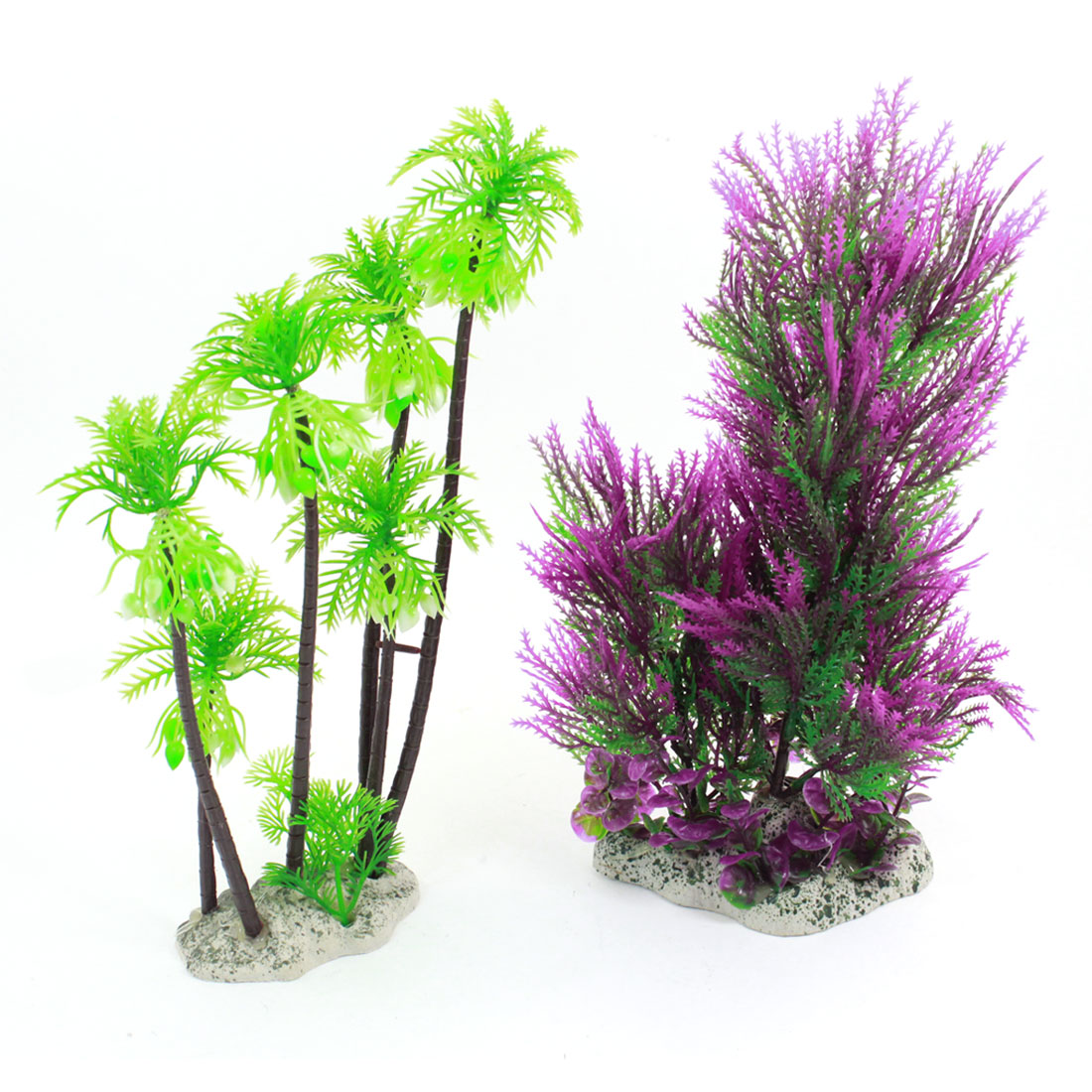 "Aquarium Tank Emulational Green Fuchsia Underwater Plant 11"" High 2 Pcs"