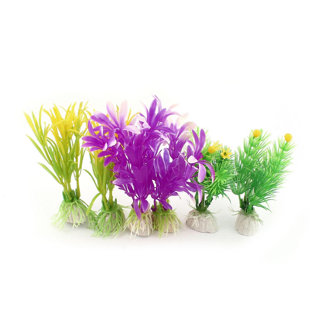 "Fish Tank Decor 3.5"" Green Plastic Grass Flower Artificial Underwater Plant 6 Pcs"
