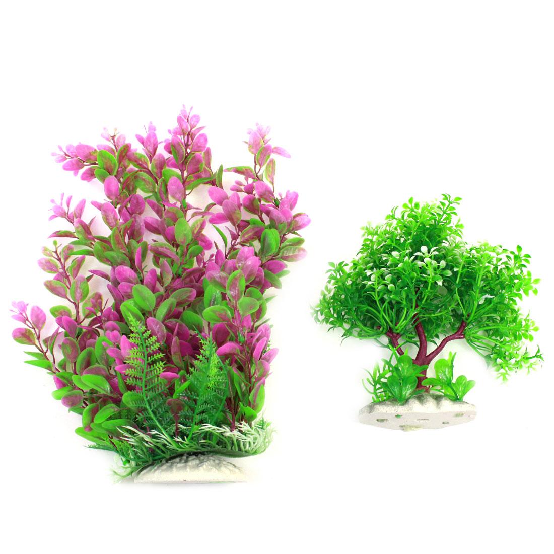 Fish Bowl Simulation Aquatic Grass Decoration Green Fuchsia 31cm Height 2 Pcs