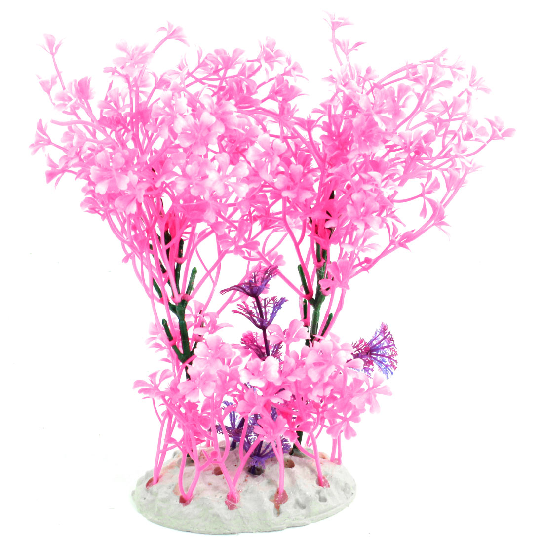 "Fish Bowl Ornament Manmade Pink Underwater Plants Tree Grass 8.5"" Height"