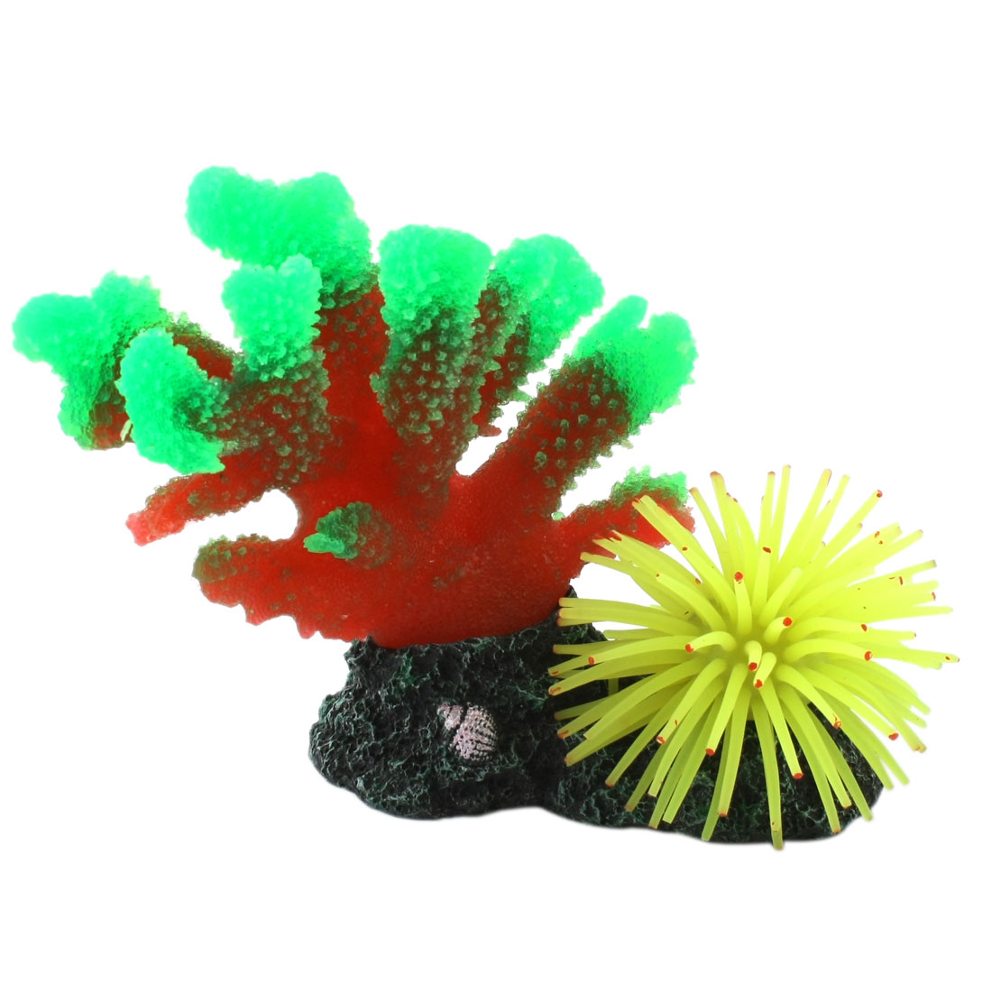 "5.5"" Height Green Red Yellow Artificial Silicone Coral Decoration for Aquarium"