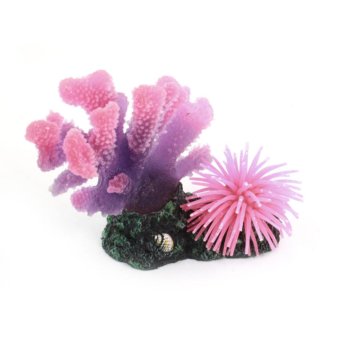 Aquarium Ornament Artificial Ceramic Base Purple Pink Coral 13cm Height
