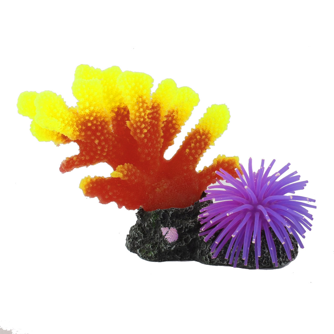 "5.5"" Height Yellow Red Purple Artificial Silicone Coral Decoration for Aquarium"