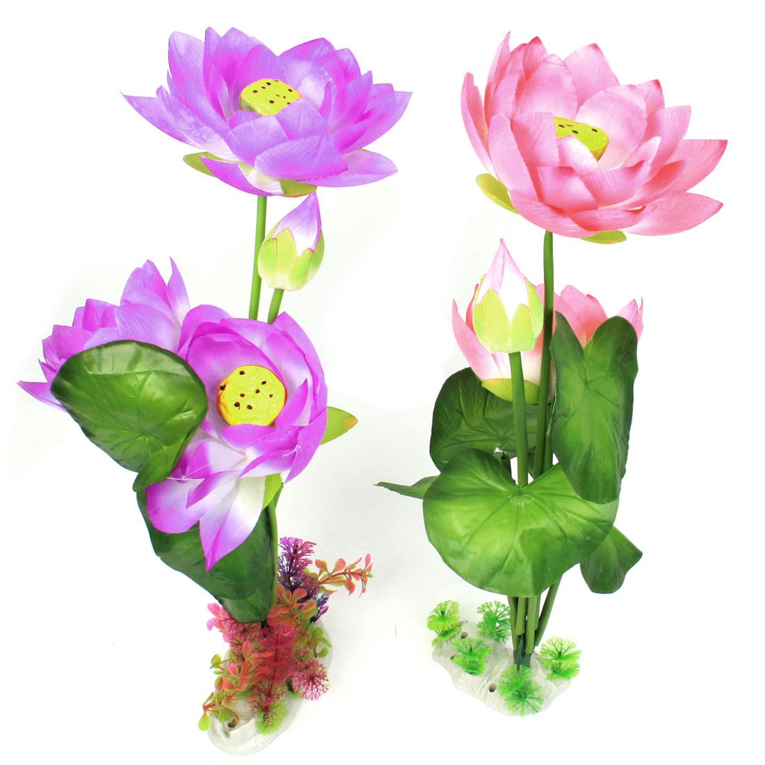 "2 Pcs Aquarium Emulational Fabric Lotus Flower Decor Pink Purple 20"" High"