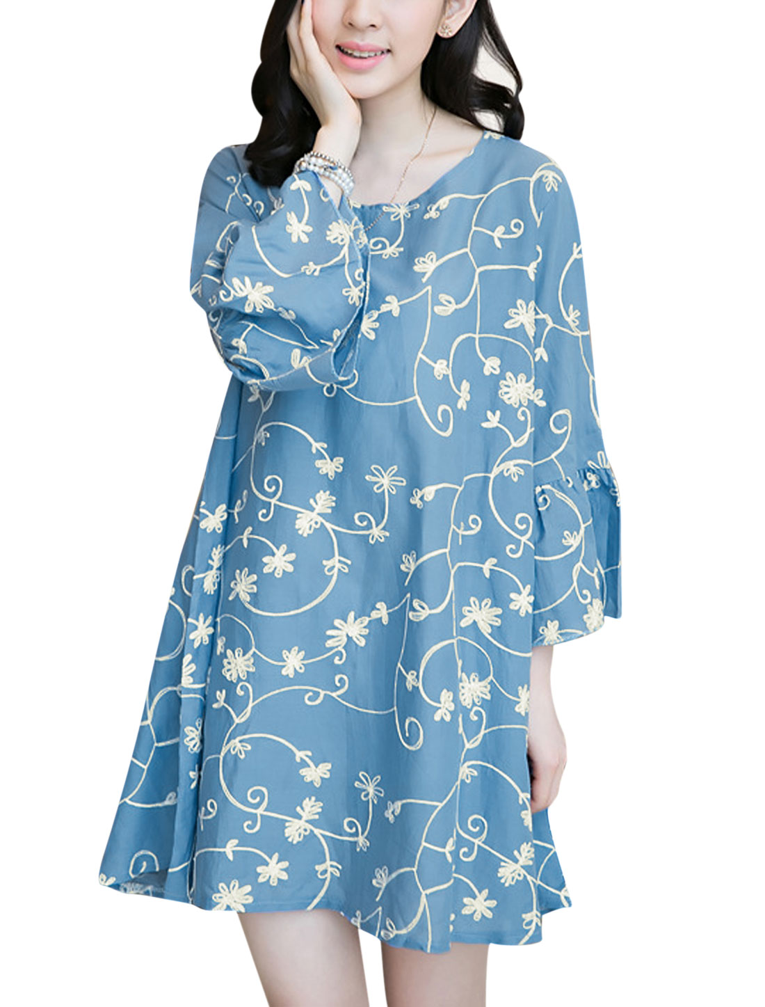 Lady 3/4 Trumpet Sleeve Floral Embroidery Loose Fit Unlined Dress Blue S