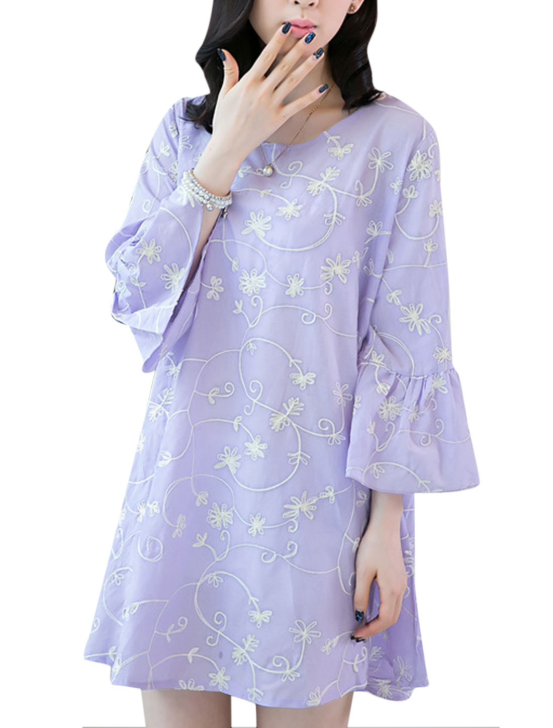 Lady 3/4 Sleeve All-over Floral Embroidery Semi Sheer Unlined Dress Lavender S