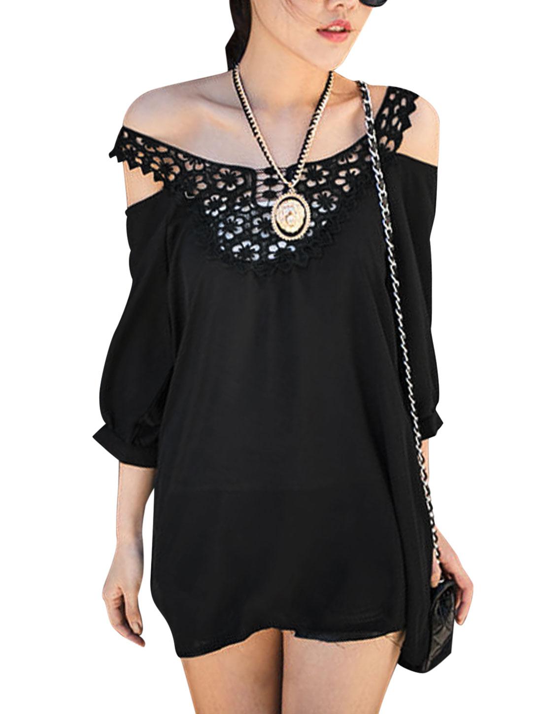 Lady Shoulder Strap Crochet Panel Cut Out Shoulder Tunic Top Black XS