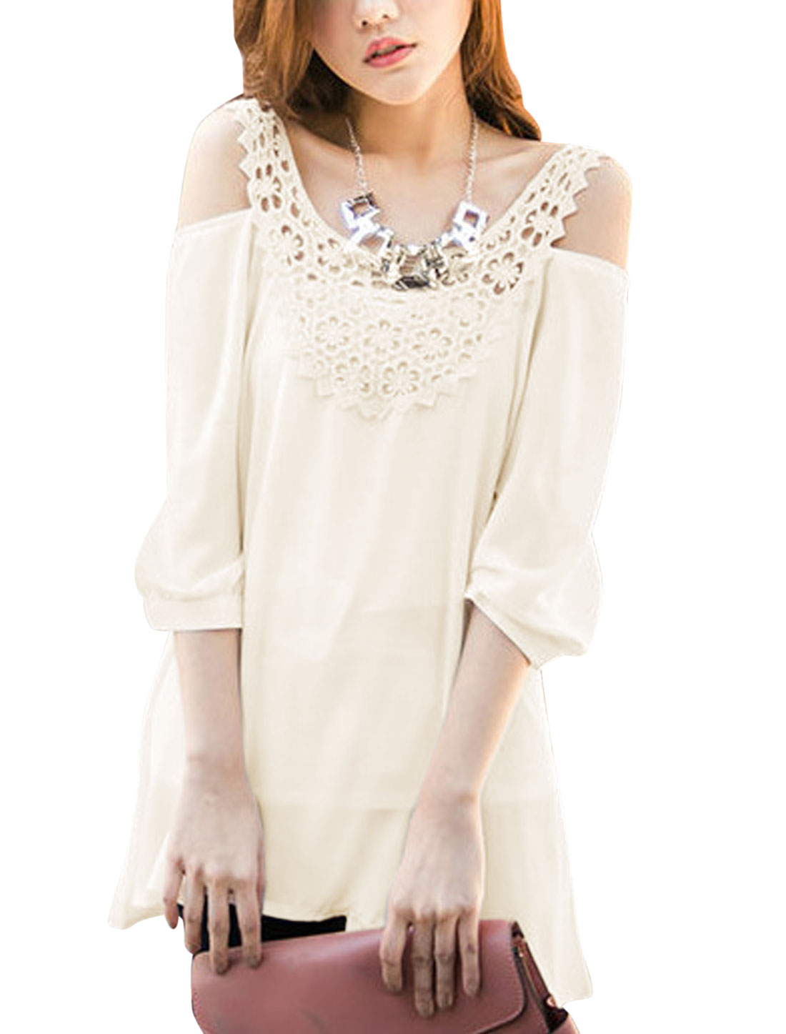 Lady Shoulder Strap Crochet Panel Cut Out Shoulder Tunic Top Beige XS
