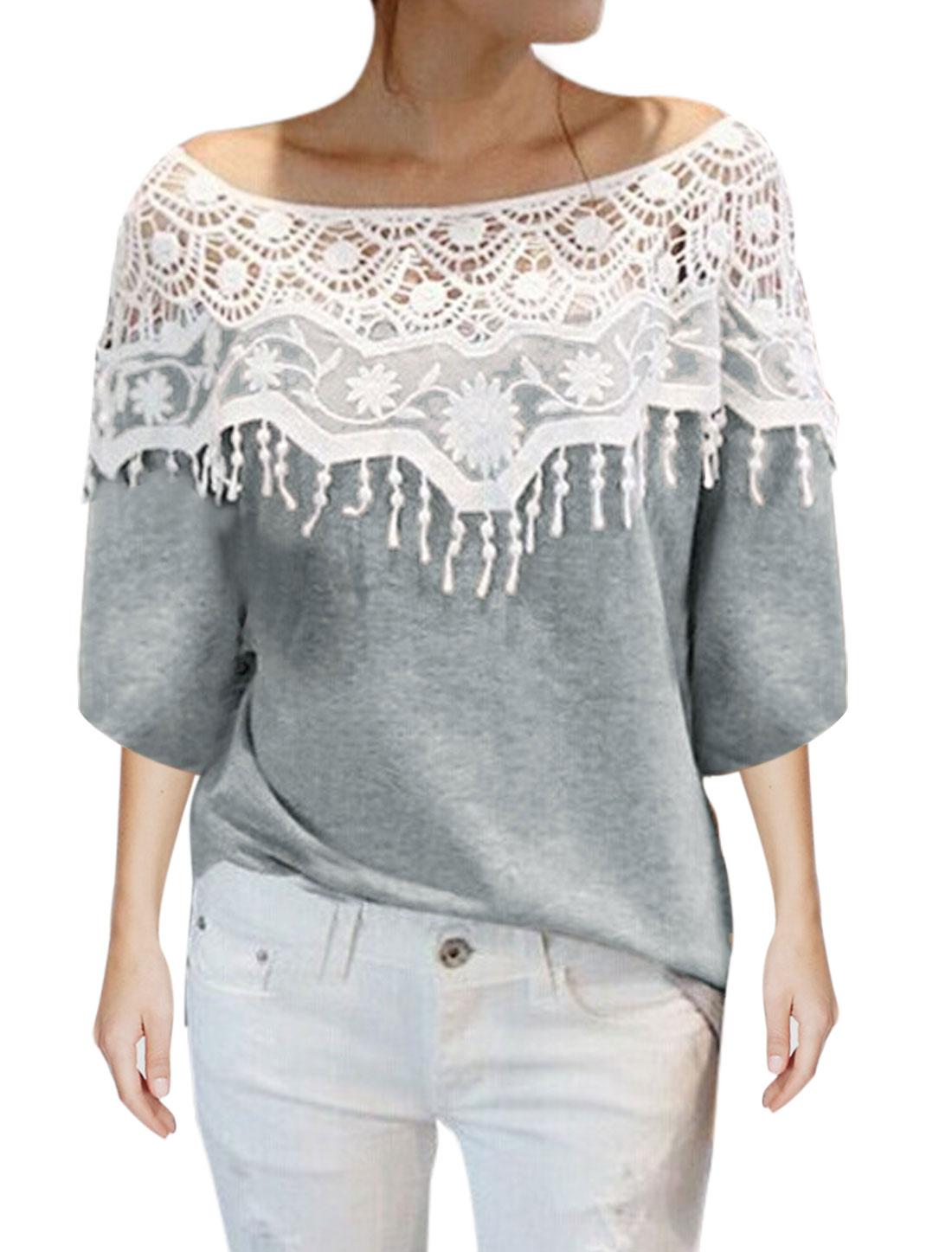Lady Half Raglan Sleeve Lace York Tassel Design Tunic Top Light Gray XS