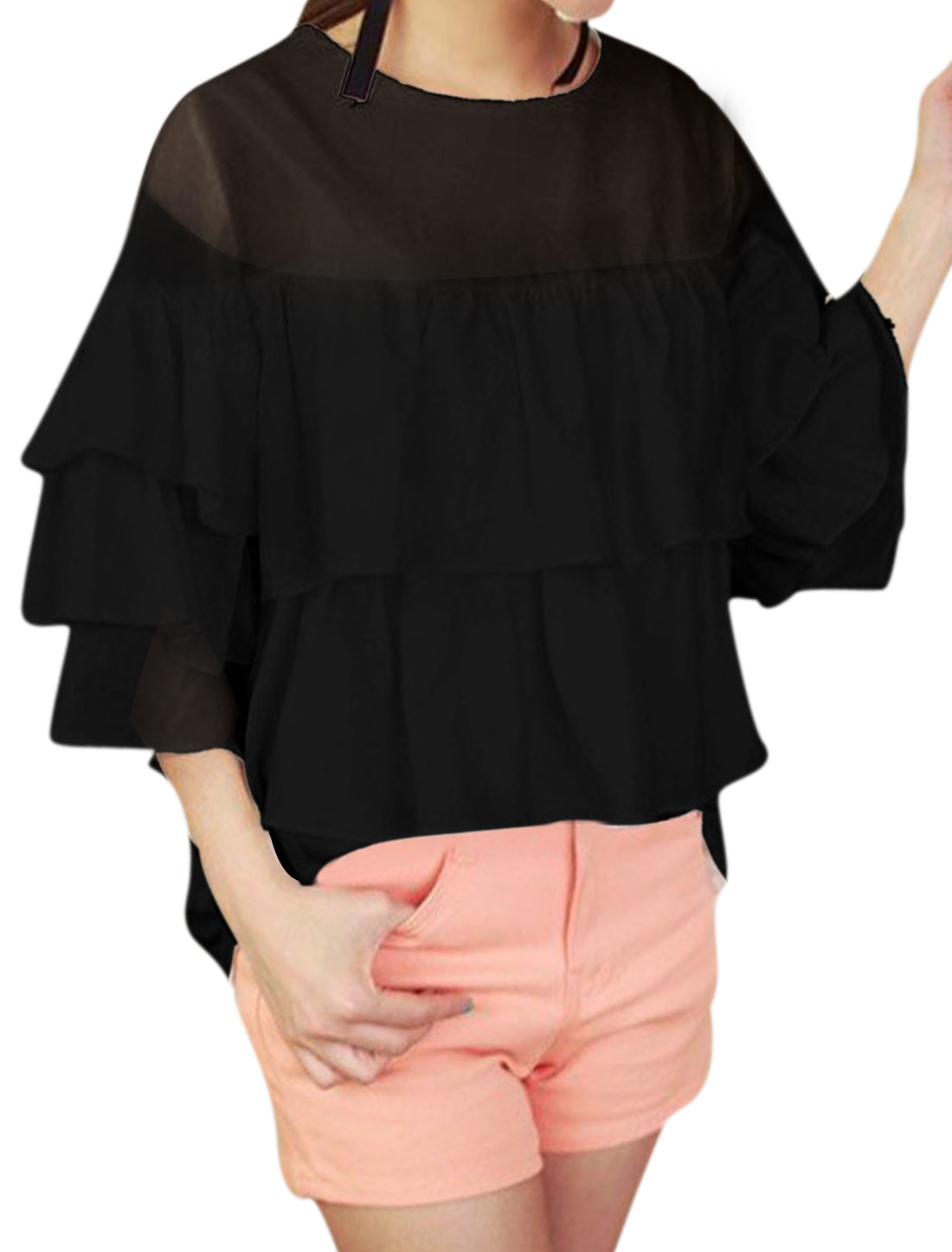 Lady Round Neck 3/4 Sleeve Tiered Design Semi Sheer Top Black XS