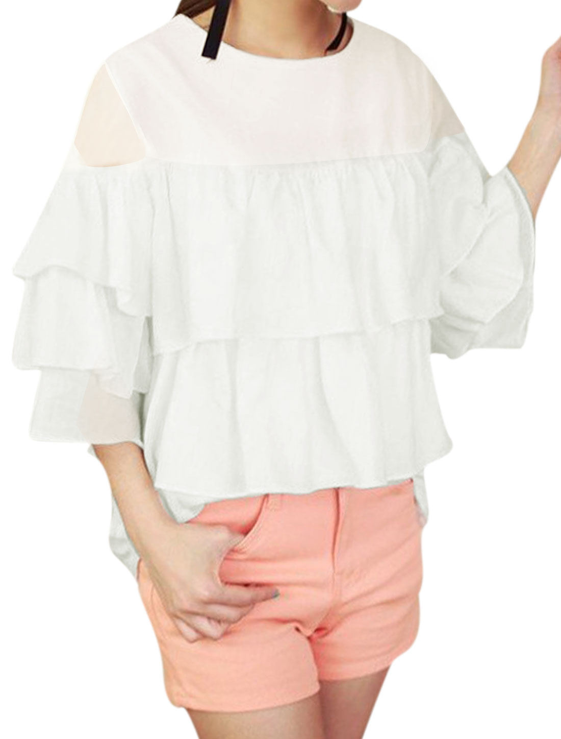 Lady Round Neck 3/4 Sleeve Layered Design Semi Sheer Top White XS