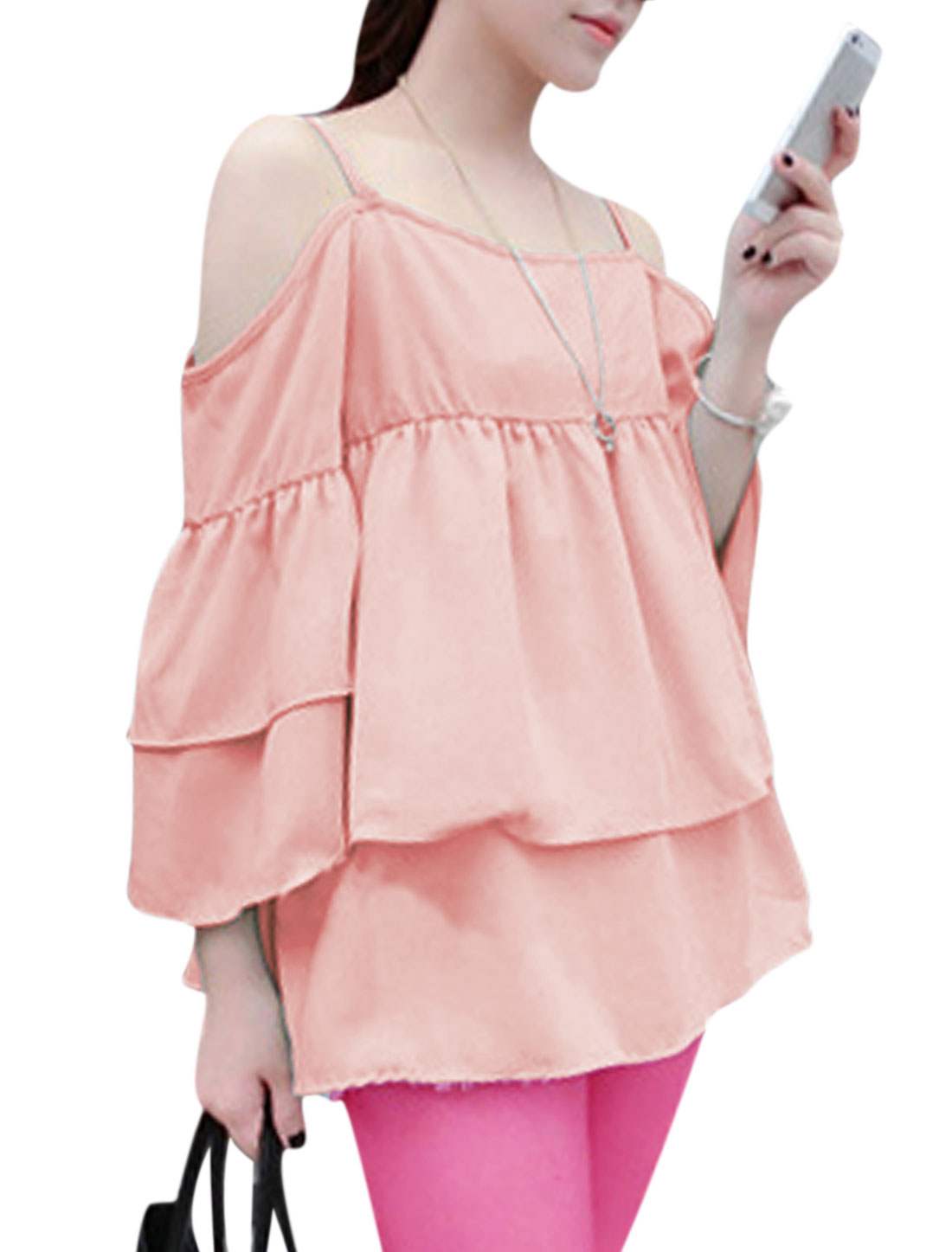 Lady Spaghetti Strap Ruffle Tiered Design Cut Out Shoulder Blouse Light Pink S