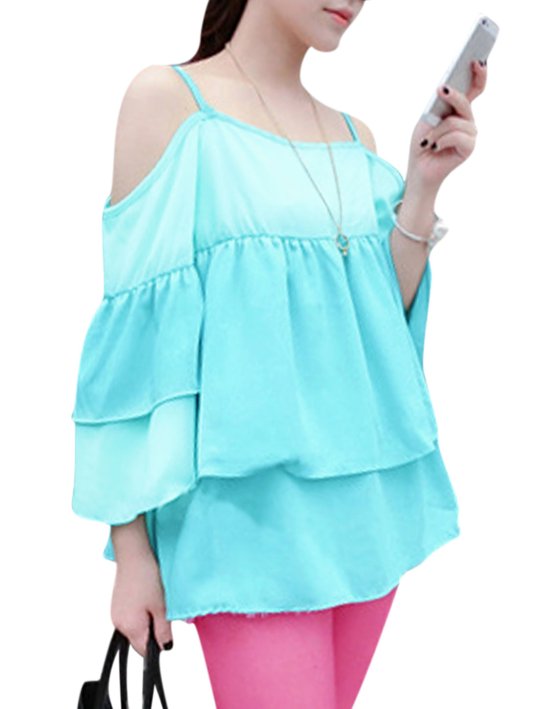 Lady Spaghetti Strap Ruffle Layered Design Cut Out Shoulder Blouse Aqua Blue S