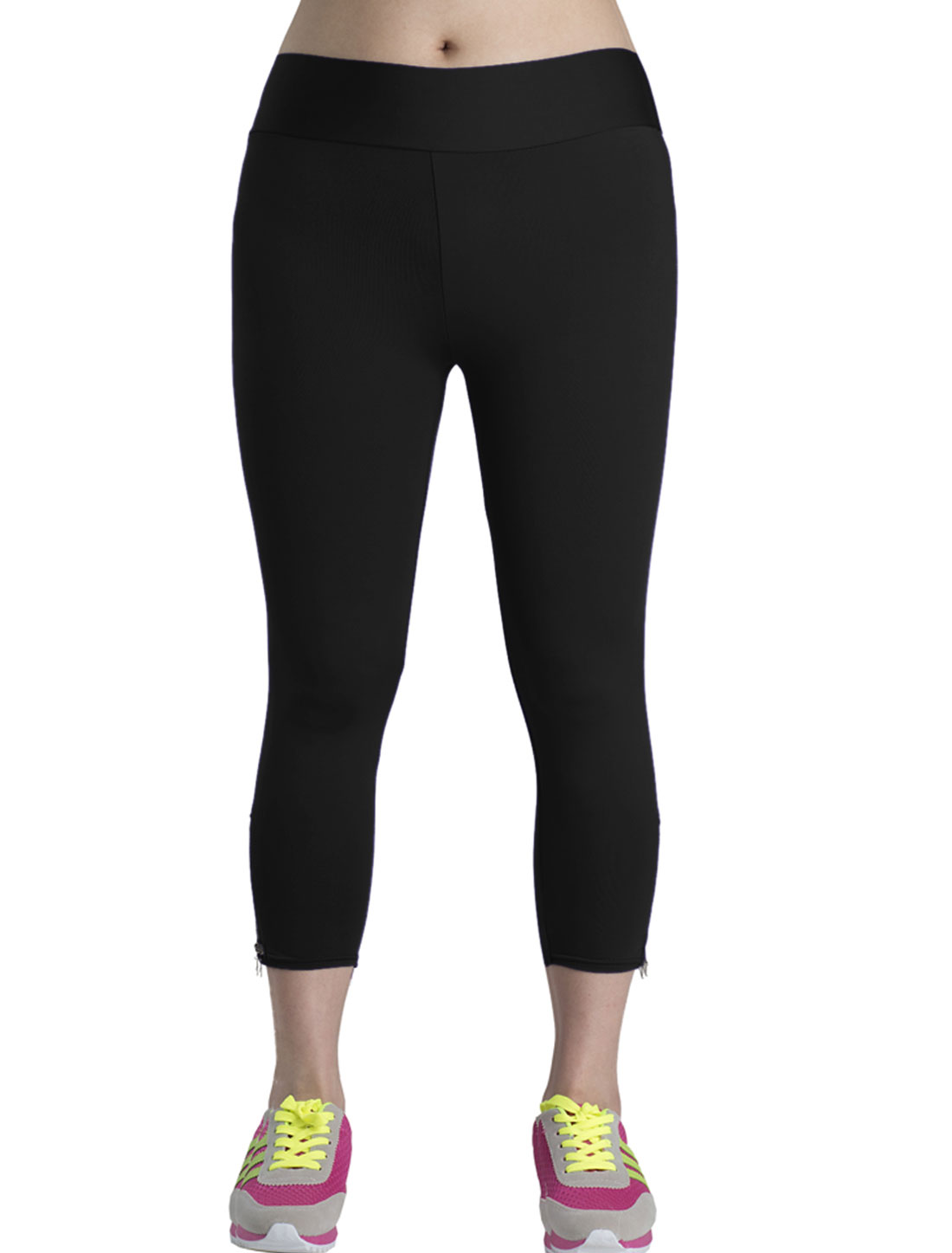 Lady Zipper Side Stretchy Casual Skinny Capri Pants Black M