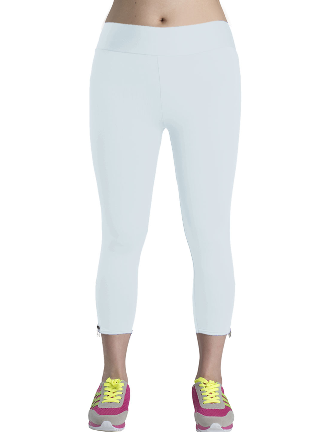 Lady Elestic Zipper Side Fashionable Capri Pants White M