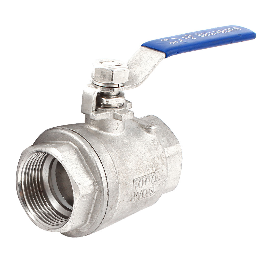 1 1/4PT Dia Female Thread Blue Plastic Coated Handle 90 Degree Rotary Stainless Steel 2 Piece Ball Valve