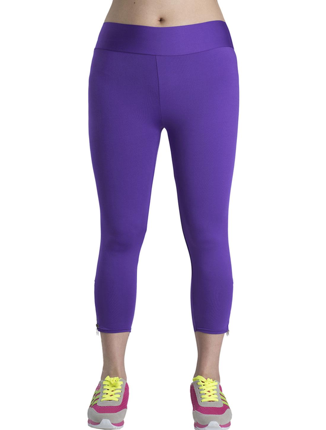 Lady Zip Closure Side Design Slim Fit Capri Pants Purpel M