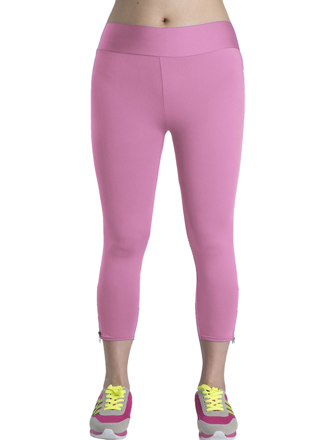 Lady All Over Stretchy Casual Skinny Capri Pants Pink M
