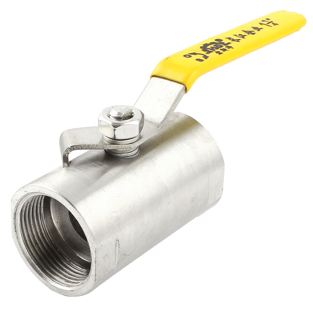 DN32 1 1/4PT Female Yellow Plastic Coated Handle 90 Degree Rotary Lever Water Flow Control Straight Ball Valve
