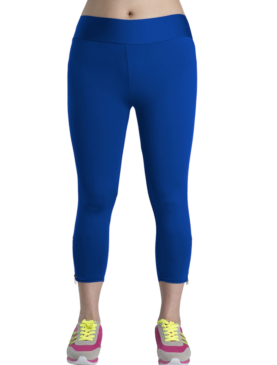 Lady Zipper Side Mid Rise Casual Capri Pants Royal Blue M