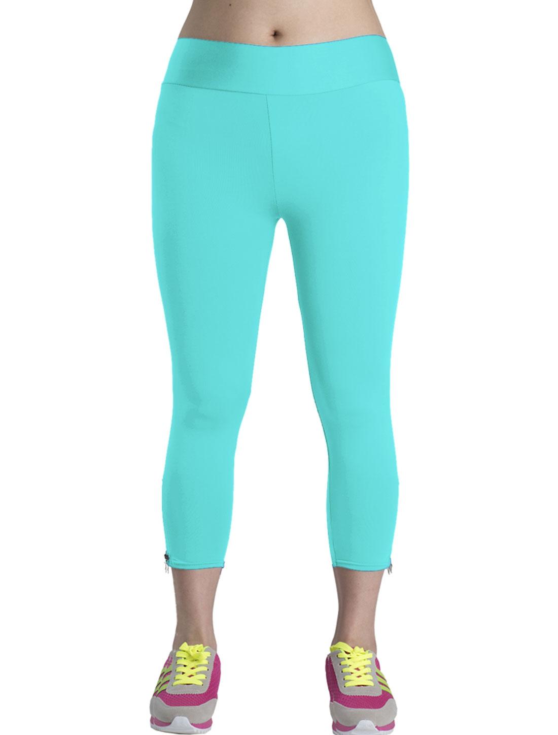 Slim Fit Casual Zipper Side Capri Pants for Lady Aqua M