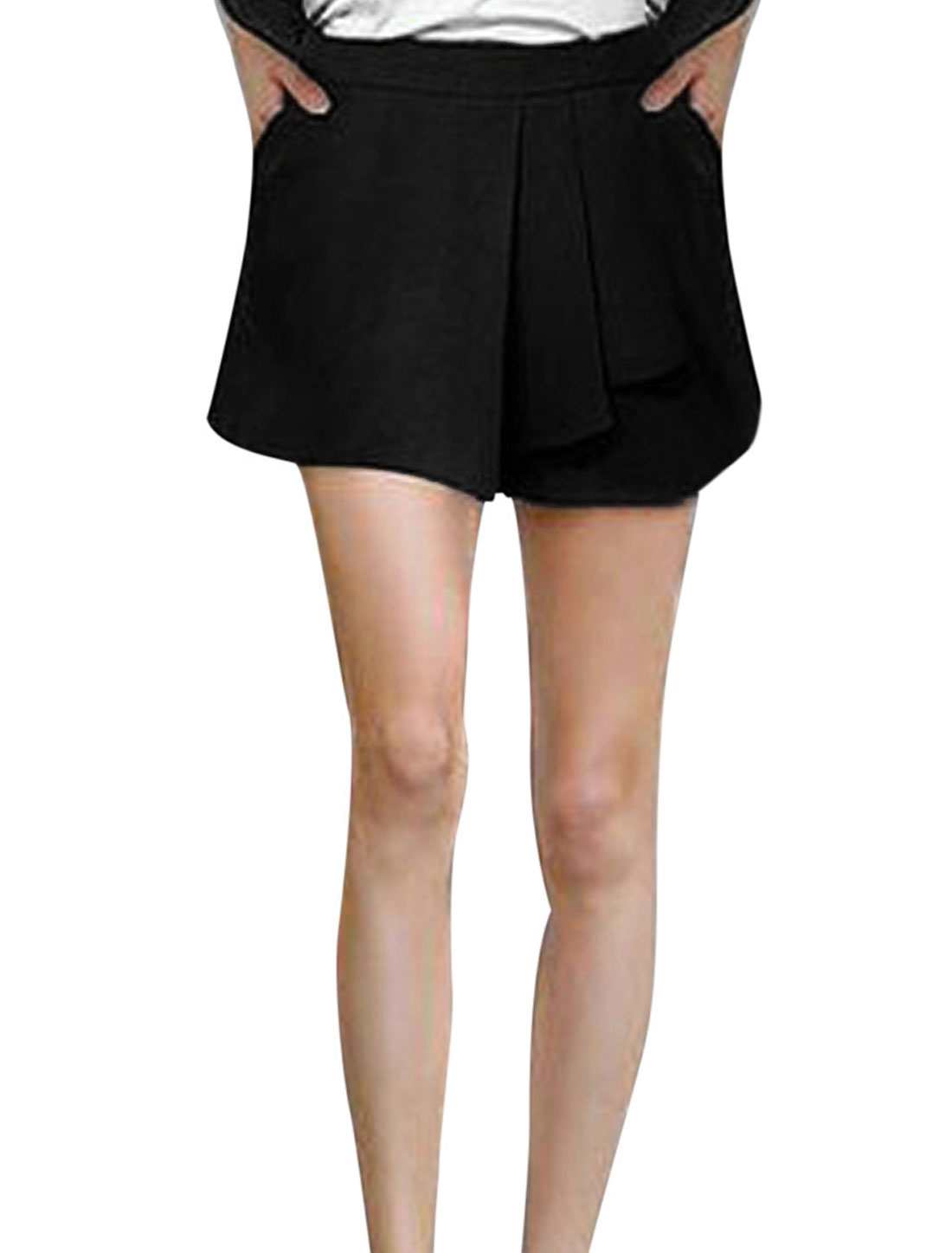 Lady Zip Side Pleated Mock Pocket Back Casual Skort Black M
