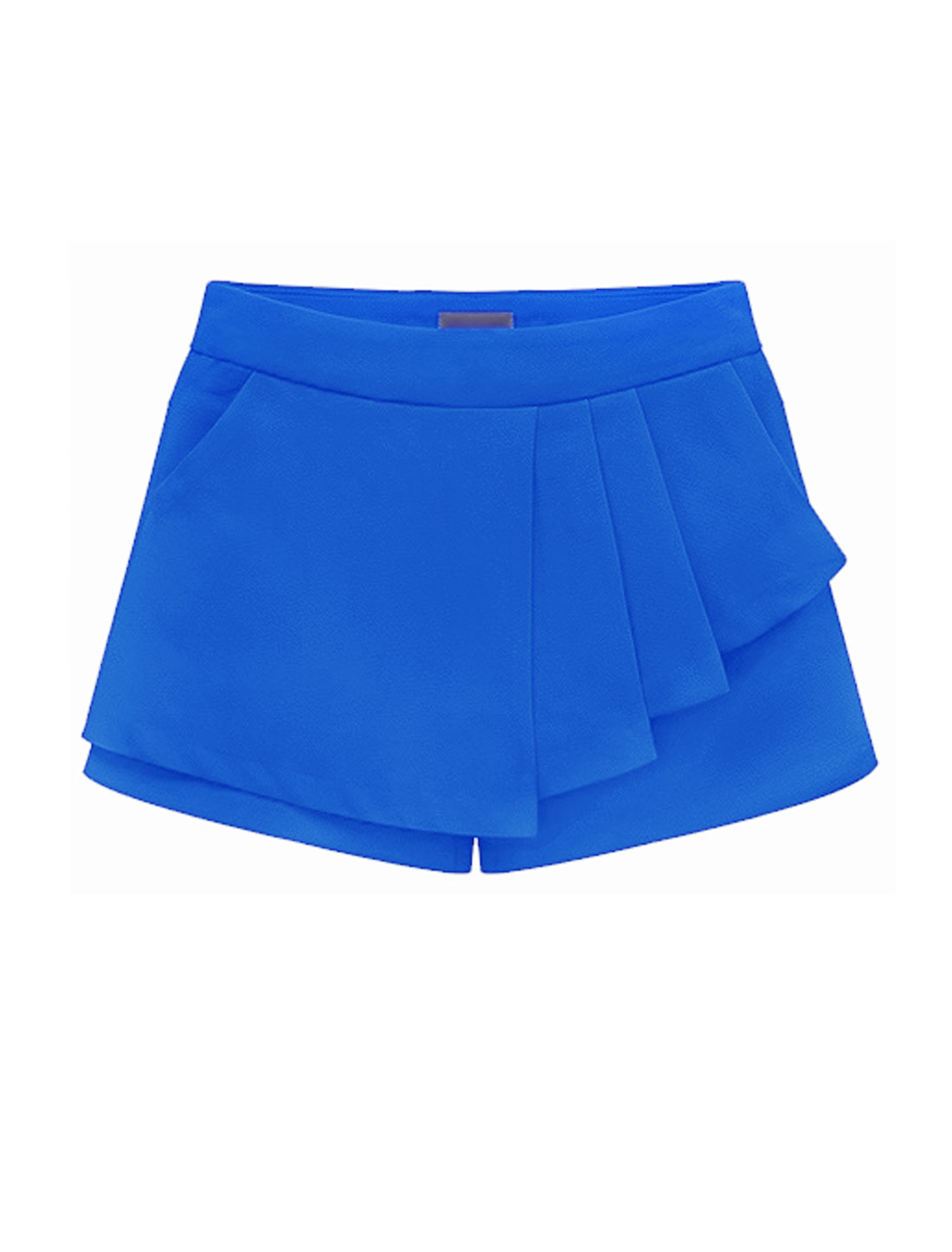 Lady Zip Fly Pleated Mock Pocket Back Casual Skort Blue M