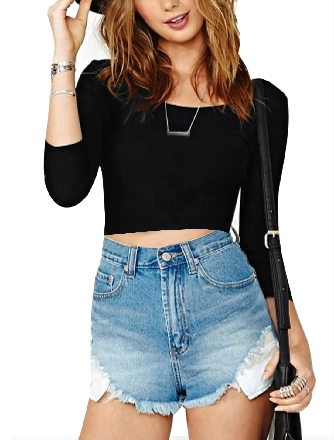 Lady Slim Fit Crossover Back Cut Out Midriff-Baring T-Shirt Black XL