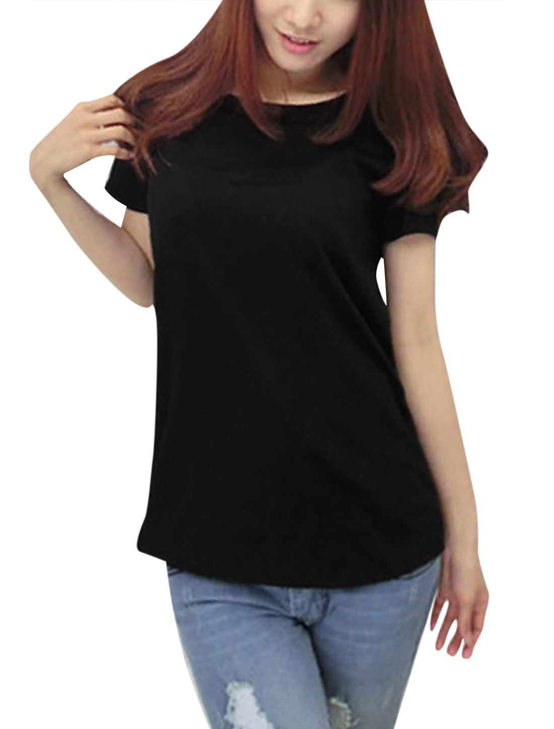 Lady Round Neck Wing Design Hollow Out Back Casual Shirt Black XS