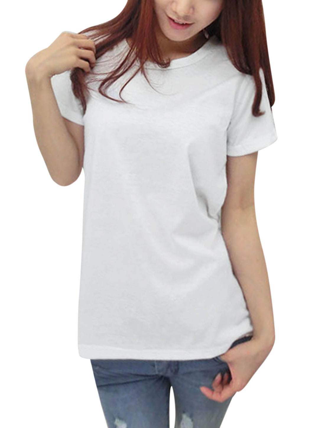 Lady Short Sleeve Hollow Out Back Casual Shirt White XS