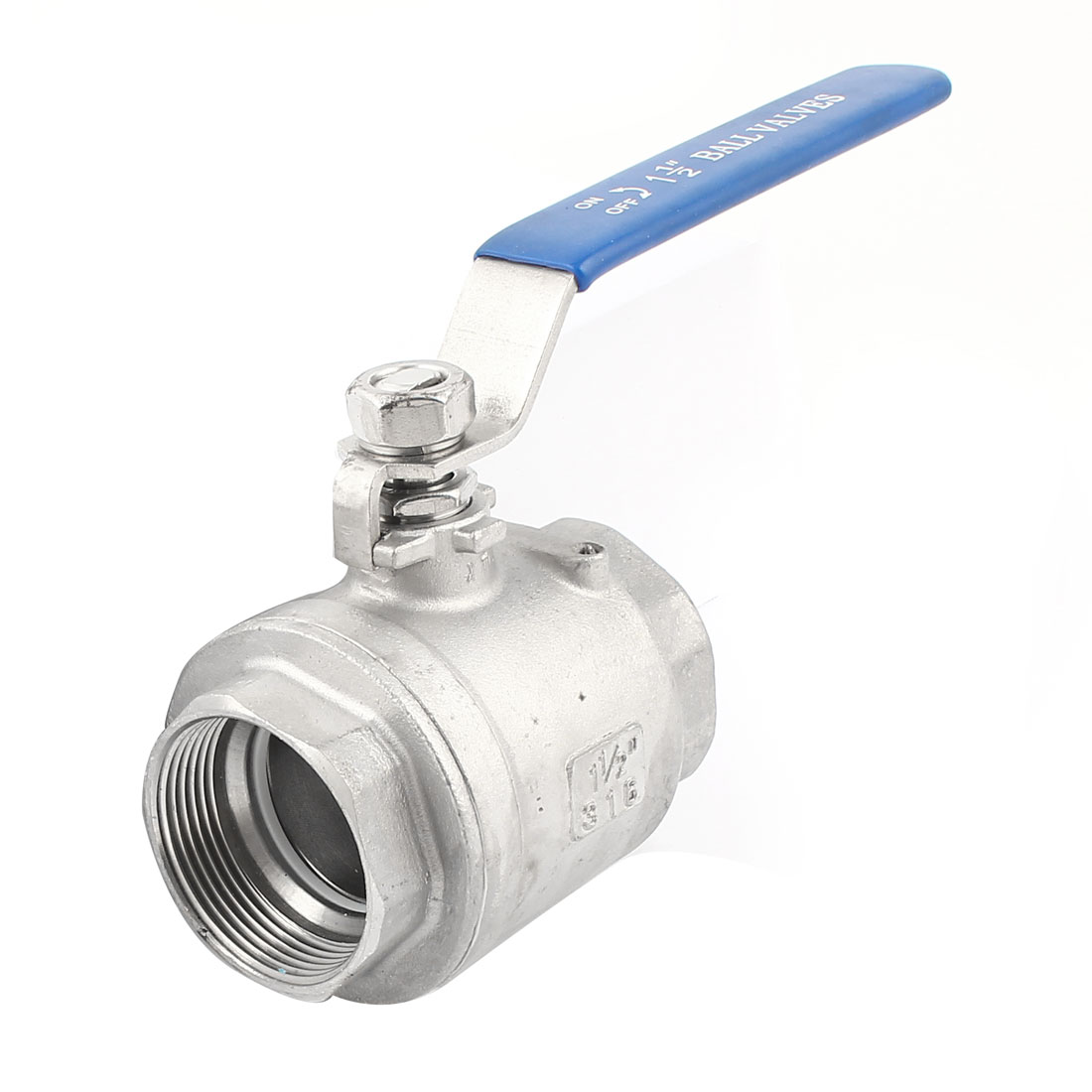 1 1/2PT 45mm Female Blue Plastic Coated Handle 90 Degree Rotary Lever Water Flow Control Stainless Steel Straight Ball Valve