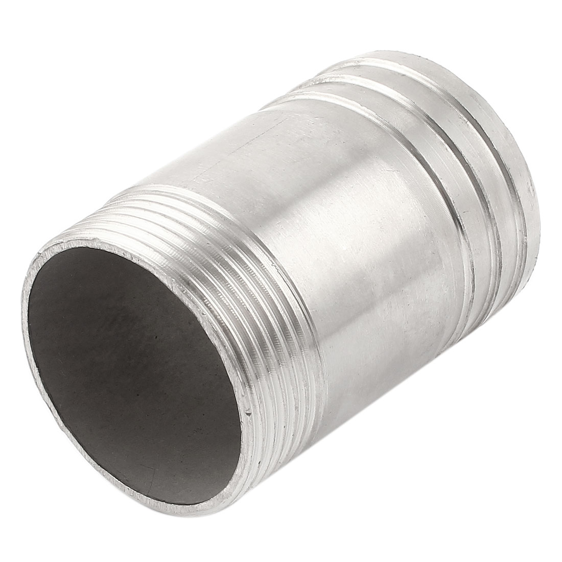Replacement 46mm Male Thread Silver Tone Stainless Steel Pipe Barb Hose Tail Connector Adapter Fitting 47mm