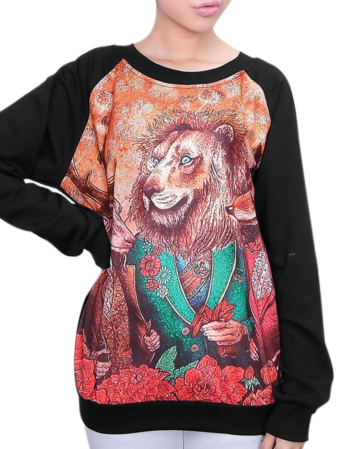 Lady Raglan Sleeve Animal Pattern Ribbed Hem Casual T-shirt Black XS
