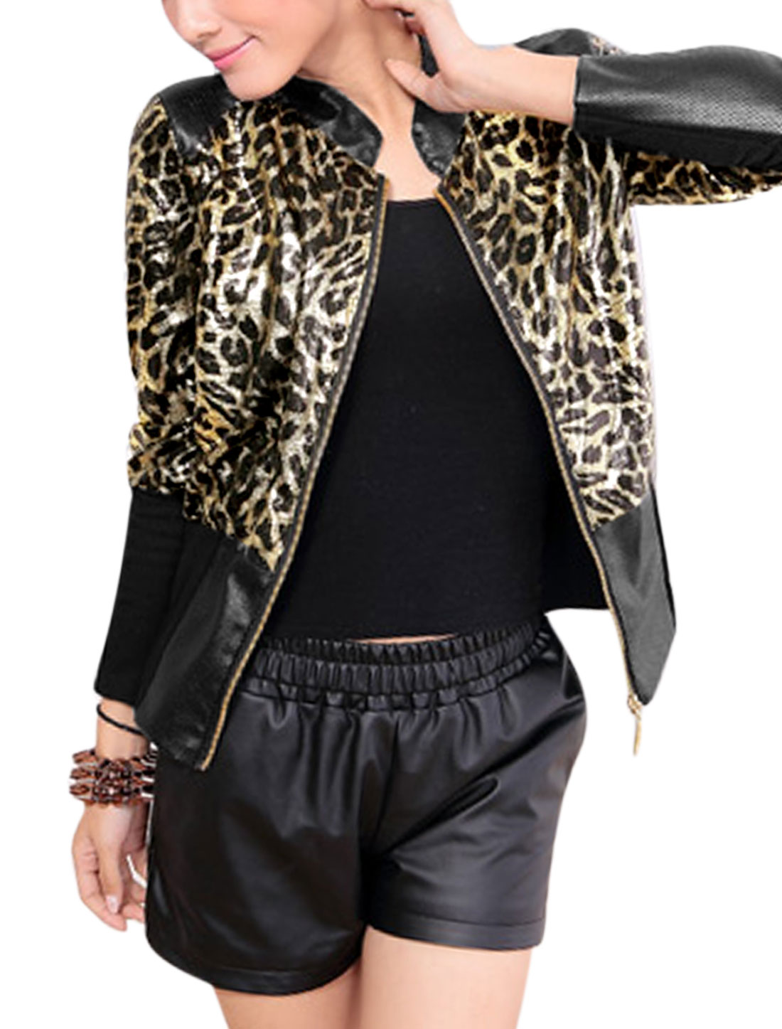 Lady Zip Fly Leopard Prints Basic Jacket Black Gold Tone M