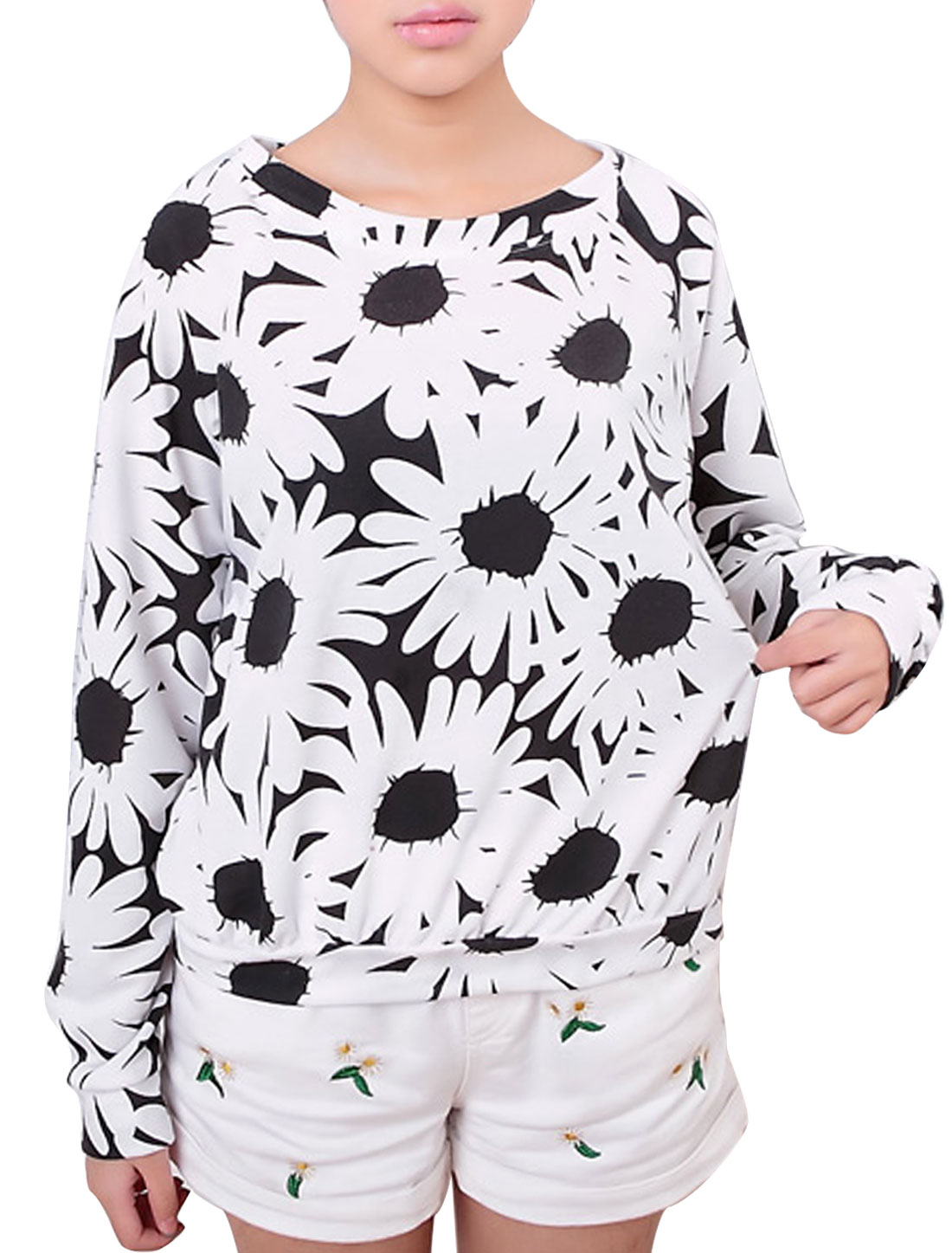 Lady Long Raglan Sleeve Floral Prints Sweatshirt White Black S