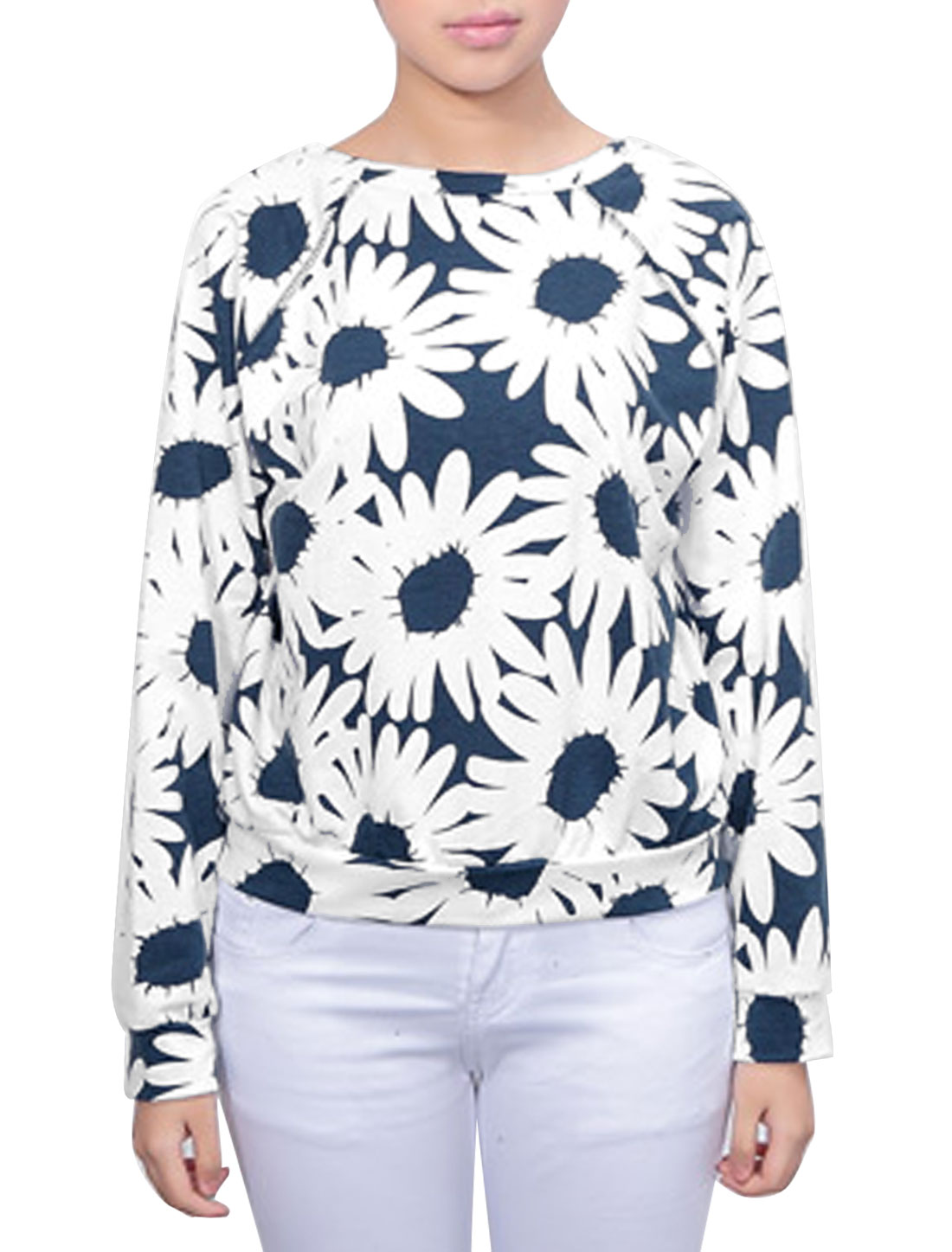 Lady Long Raglan Sleeve Flower Pattern Sweatshirt White Navy Blue S