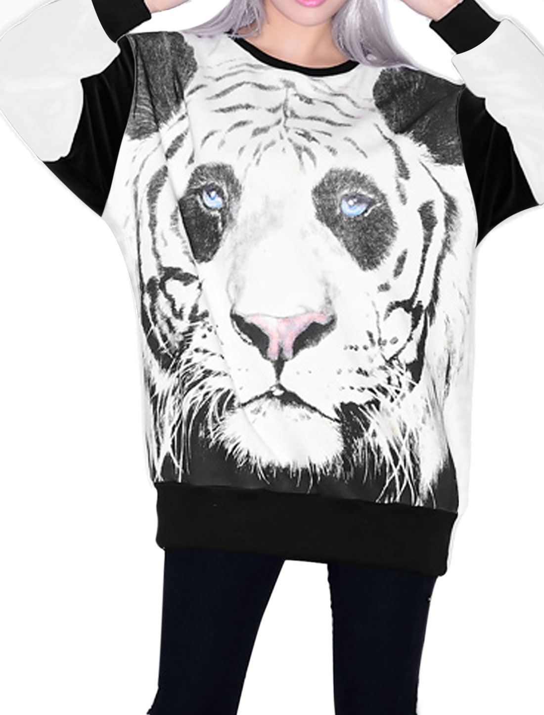 Lady Long Sleeve Tiger Prints Loose Casual T-Shirt Black White XS