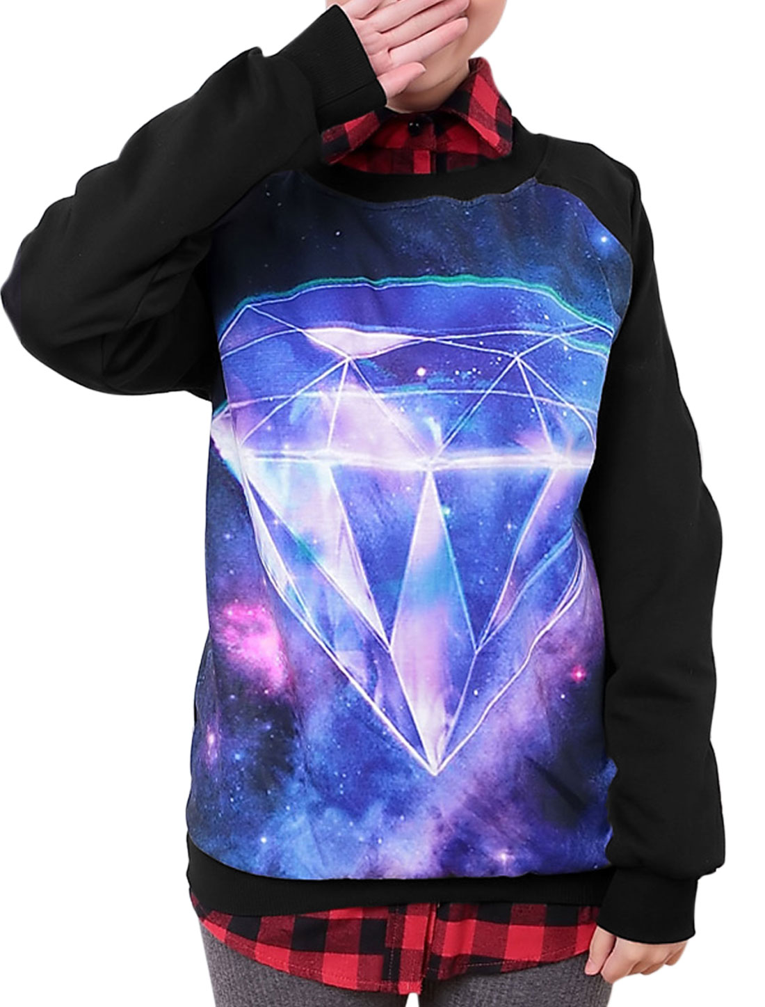 Women Diamond Pattern Raglan Sleeve Ribbed Hem Casual T-shirt Black XS