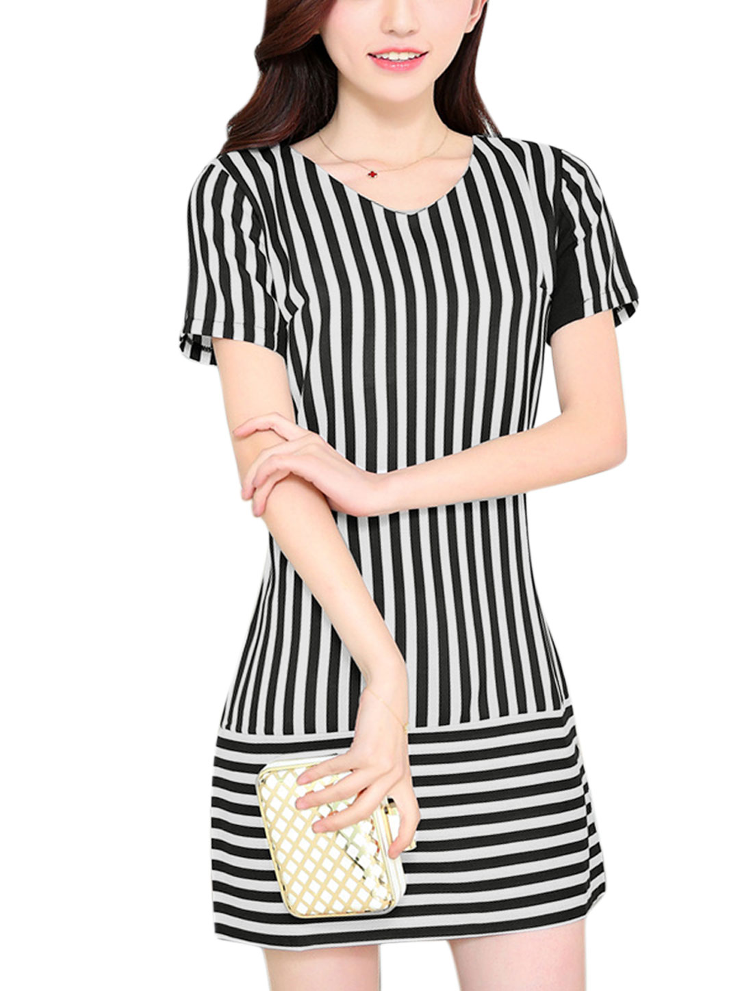 Ladies V Neck Short Sleeve Stripes Pattern Black White Dress S