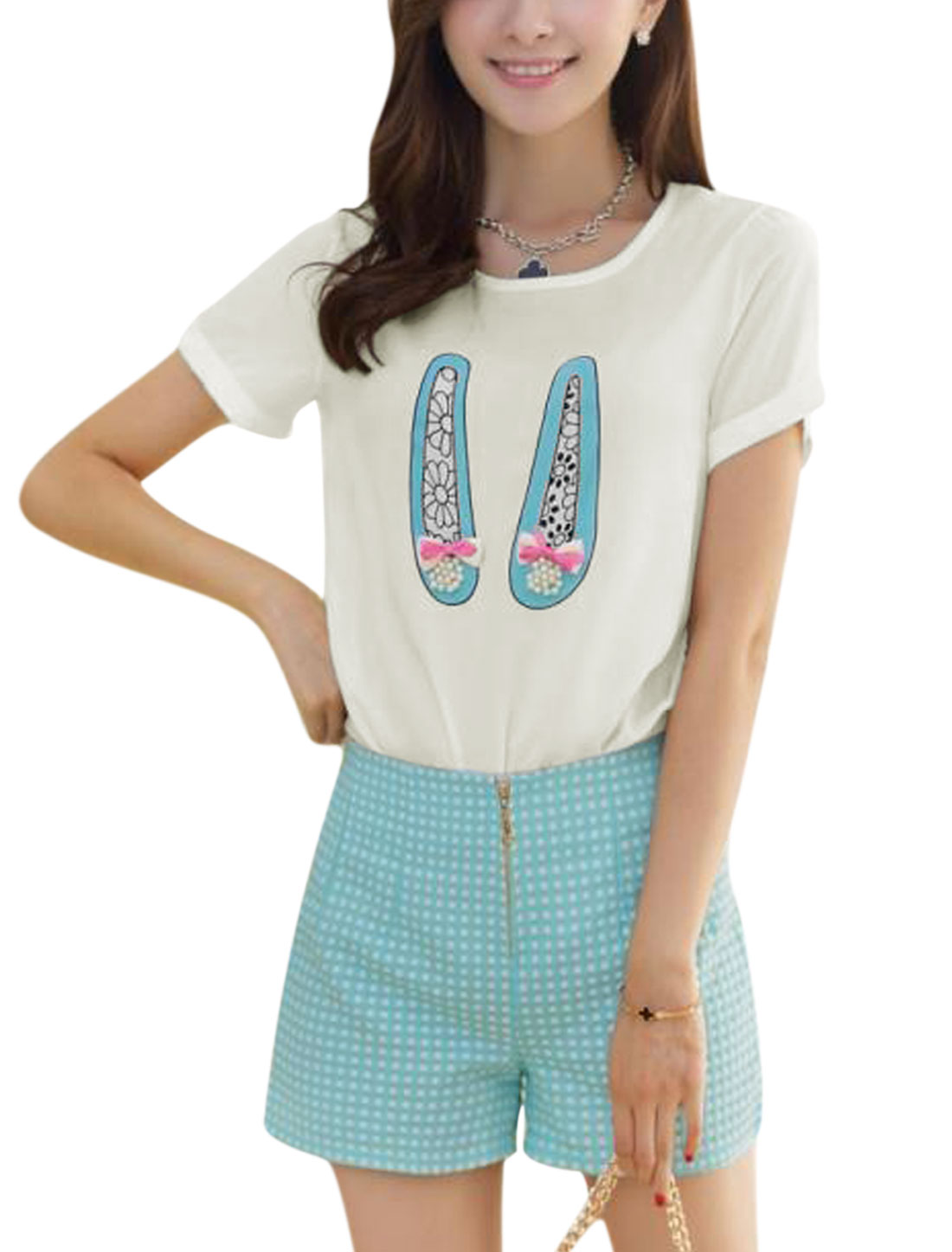Lady Zip Fly Dots Embroidery Aqua Blue Shorts w Shoes Prints White Top M