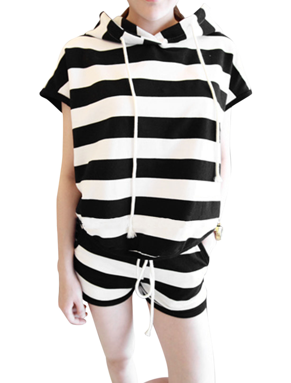 Lady Drawstring Hoody Top w Elastic Drawstring Waist Shorts Black White XS